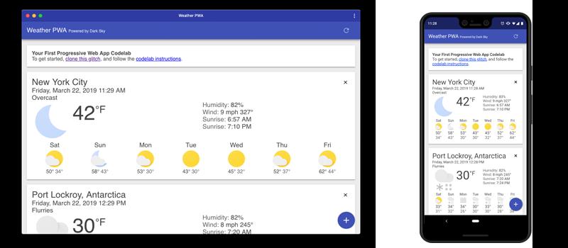 DarkSky Weather Progressive Web Application PWA